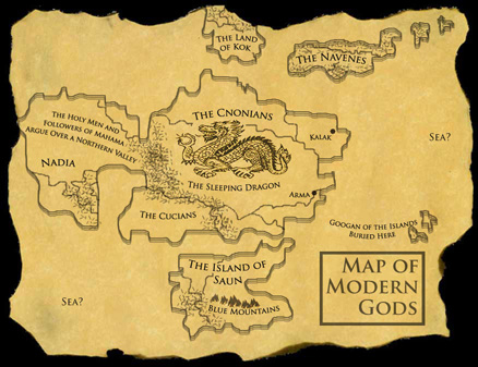 Right map of Modern gods